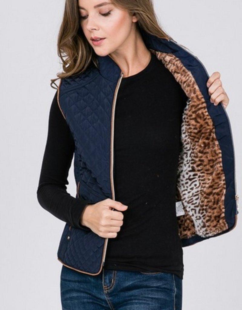 Zip Up Vest With Animal Print Fur