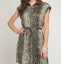 Short Sleeve Woven Snake Skin Print Dress