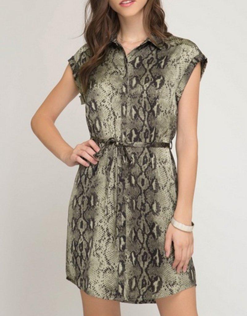 Short Sleeve Woven Snake Skin Print Dress