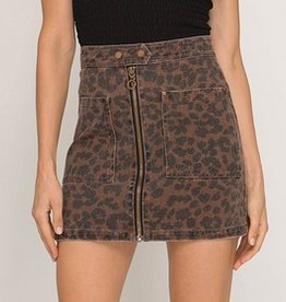 Leopard Print Twill Mini Skirt