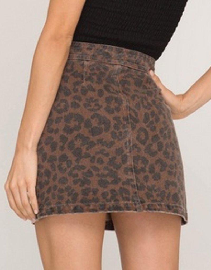 Leopard Print Twill Mini Skirt