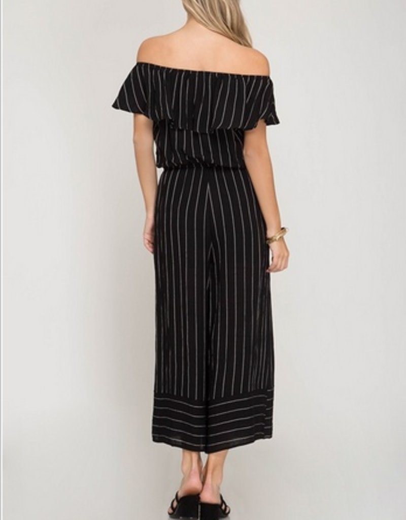 Off The Shoulder Woven Stripe Capri Jumpsuit