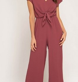 Short Sleeve Woven Jumpsuit