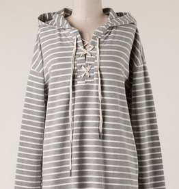 Laced Up Stripe Hoodie