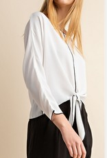 Contrast Seam Tied Blouse