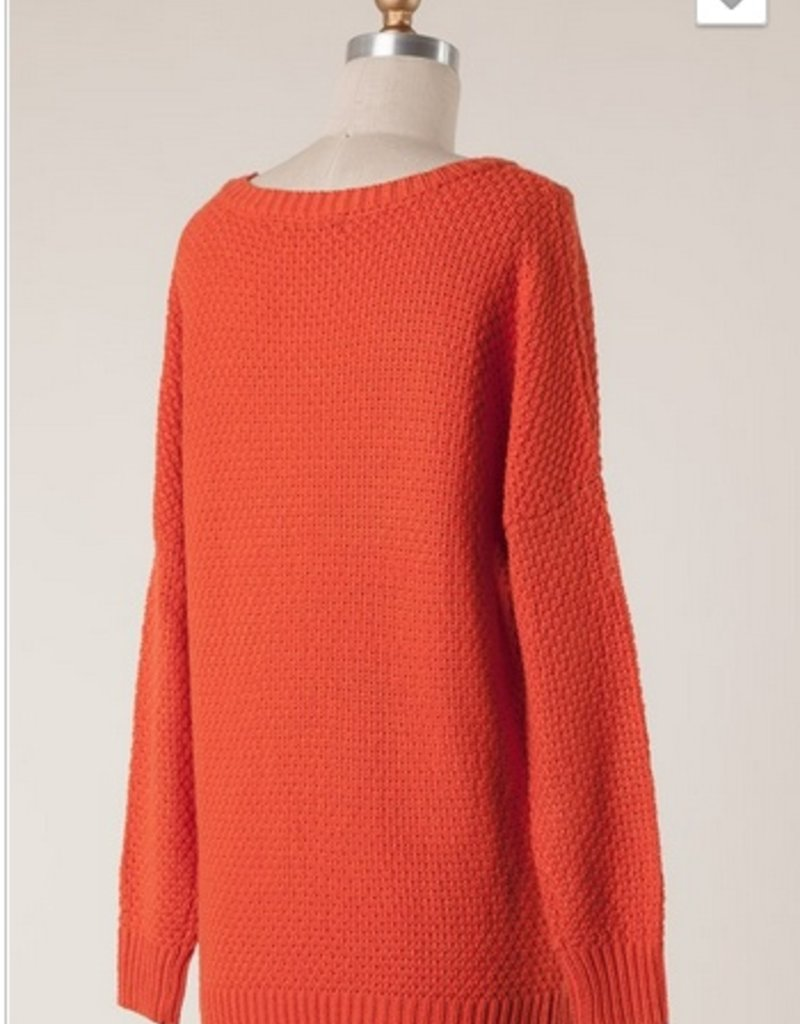 Dropped Shoulder Cable Knit Sweater
