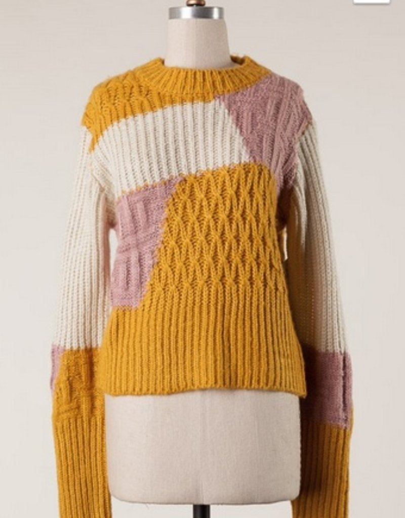Chunky Abstract Print Cable Knit Sweater