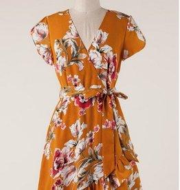 Floral Print Crossover Dress