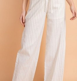 High Waisted Scallop Trim Stripe Pants