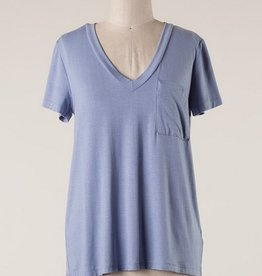 Short Sleeve V-Neck Knit Top