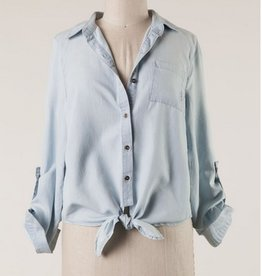 Button Down Long Sleeve Woven Top