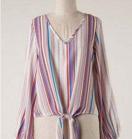 Long Sleeve Striped Top With Self-Tying Knot