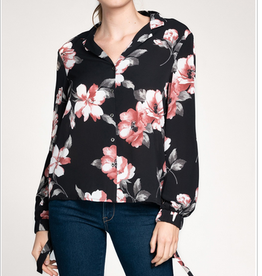 Floral Button Down With Sleeve Ties