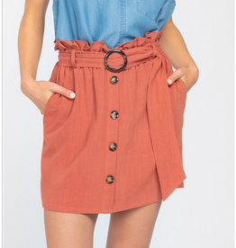 Solid Woven Button Front Skirt