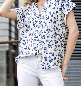 Cuffed Short Sleeve Button Down Animal Print Top