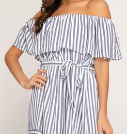 Striped Woven Dress With Waist Sash