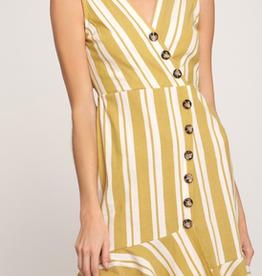 Vintage Style Button Down Striped Dress