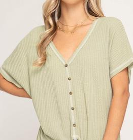 Dolman Short Sleeve Thermal Knit Top