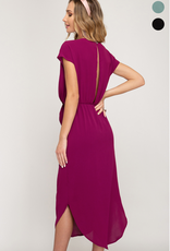 Short Sleeve Woven Dress With Tie Front