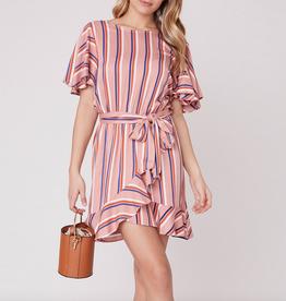 Stripe Three Rosette Dress