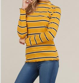 Long Sleeve Merrow Detailed Stripe Top