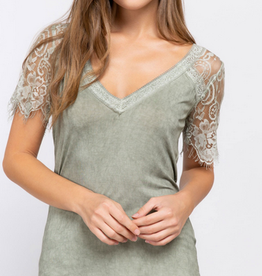 Lace V-Neck T-Shirt