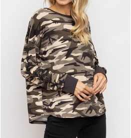 Lace Up Sleeve Camo Sweater