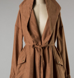Faux Suede Coat With Hood