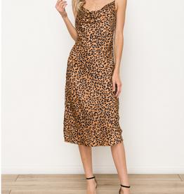 Leopard Cowl Neck Midi