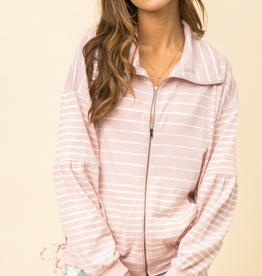 Stripe Bubble Sleeve Zip Up