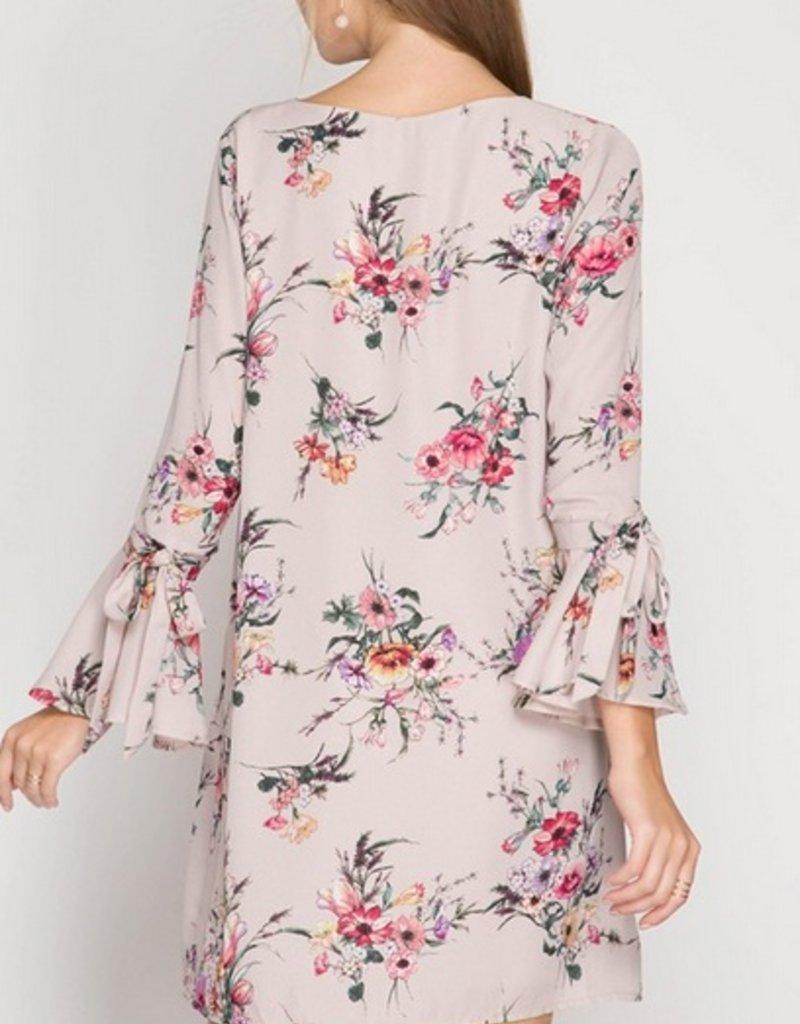 3/4 Bell Sleeve Floral Dress