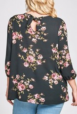3/4 Sleeve Floral Blouse