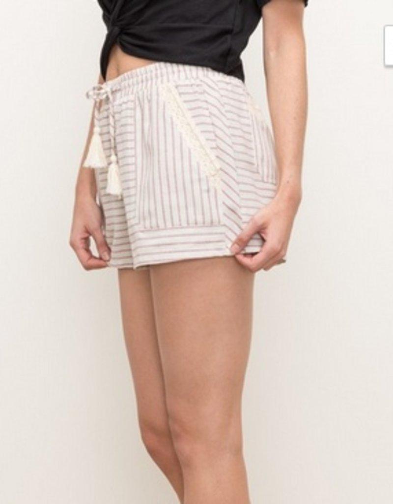 Stripe Lace Inset Shorts