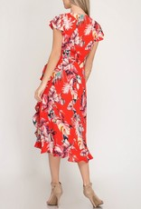 Tropical Ruffle Wrap Dress