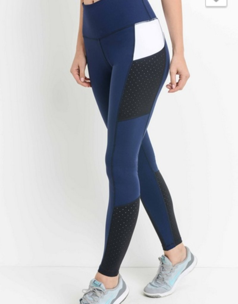 Laser-Cut Color Block Legging