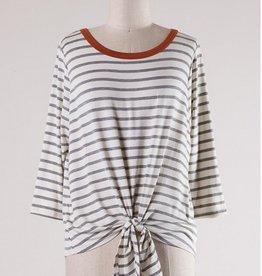 Stripe Tied 3/4 Sleeve Top