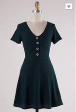 A Line Knitted Dress With Button Detail