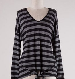 Striped Dropped Shoulder Top