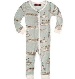 Blue Ships  Zipper Pajamas