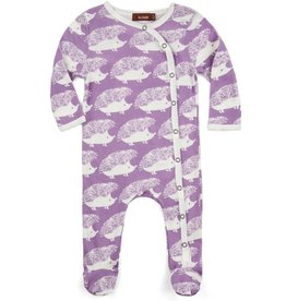 CLOTHES-Baby Girl Lavender Hedgehog Footed Romper