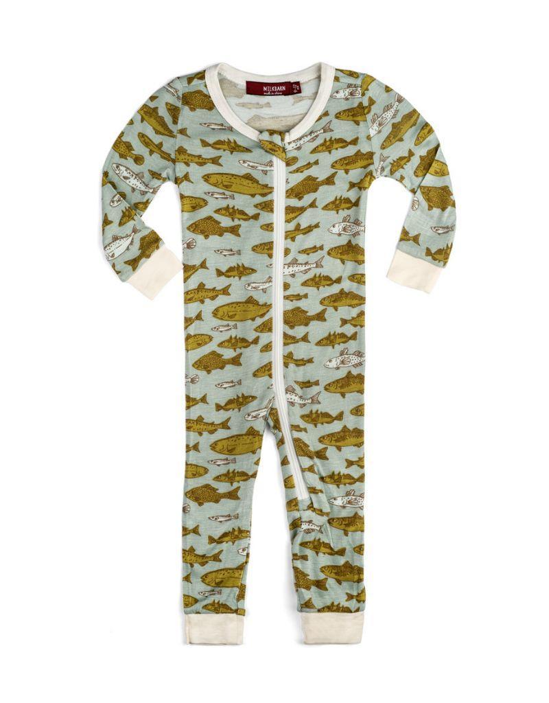 Blue Fish  Zipper Pajamas