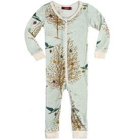 CLOTHES-Baby Girl Christmas Birds  Zipper Pajamas