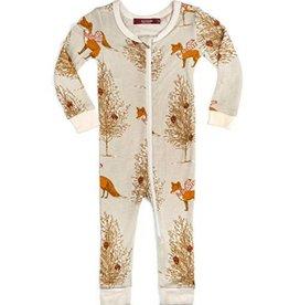 CLOTHES-Baby Girl Christmas Fox  Zipper Pajamas