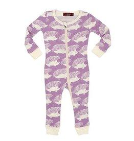 CLOTHES-Baby Girl Lavender Hedgehog  Zipper Pajamas