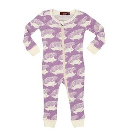 Lavender Hedgehog  Zipper Pajamas