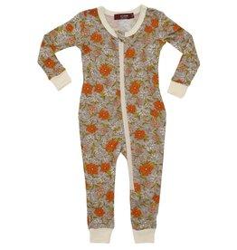 CLOTHES-Baby Girl Grey Floral  Zipper Pajamas