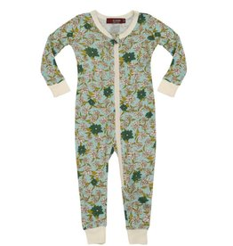 CLOTHES-Baby Girl Blue Floral  Zipper Pajamas
