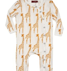 Yellow Giraffe Footed Romper
