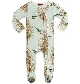 Christmas Birds Footed Romper