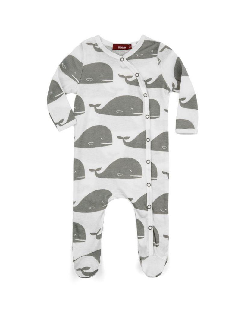 Grey Whale Footed Romper
